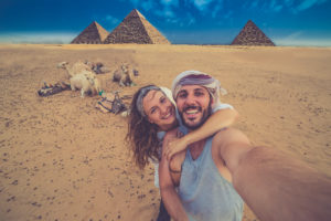Couple at the pyramids
