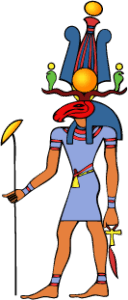 Egyptian God Heryshaf wears Shuti Crown