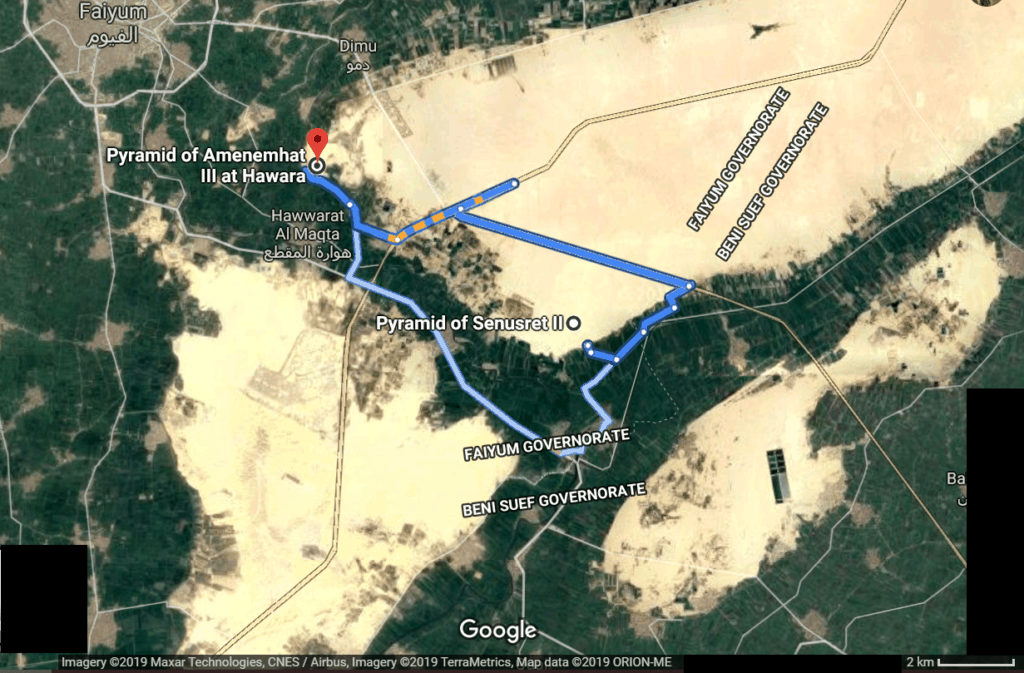 Map of Hawara (or  Amenemhet III) Pyramid and Lahun (Kahun) or  Pyramid of Senusret II ( Sesostris II )