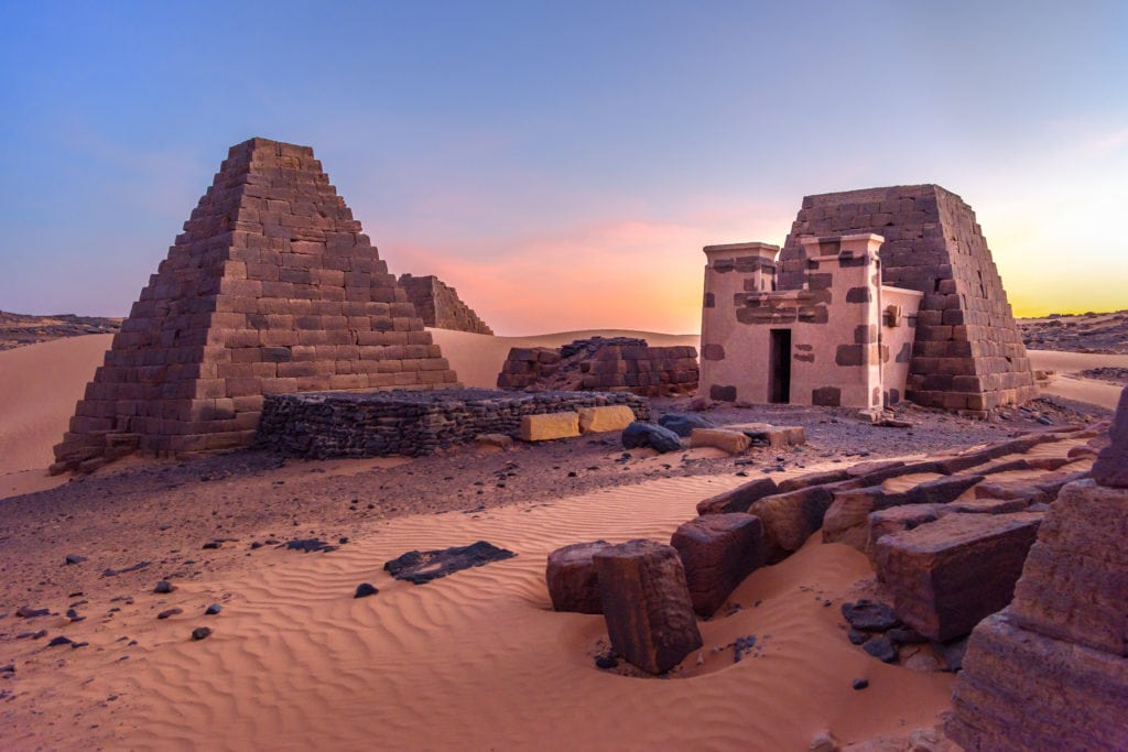 The Nubian Pyramids of   Meroe Located in Sudan