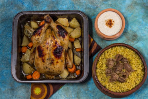 Egyptian Freek cooked on the side and served with Roasted Chicken