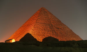 Egyptian Great Pyramid of Giza (Khufu) at Night