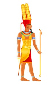 Egyptian God Amun Wearing Double Plumed Crown