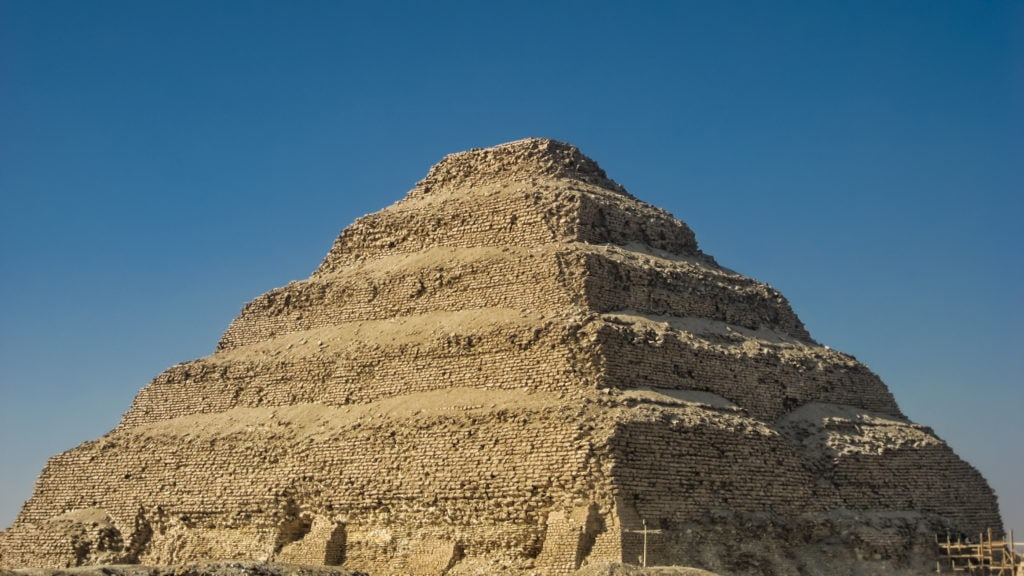 Egyptian Pyramid of Djoser (Zoser) or Step Pyramid at the Complex/ Necropolis of Saqqara in Egypt (Near Cairo)