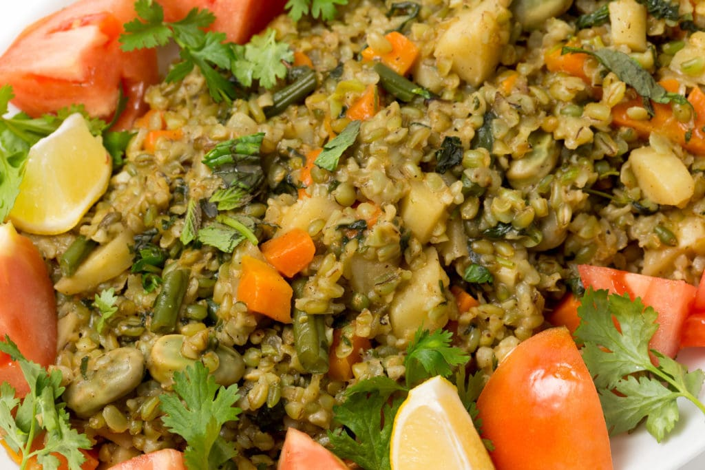 Egyptian Vegan Freek (or Freekah or Freekeh) with vegetables