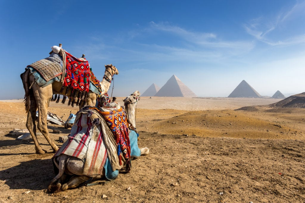 "Giza plateau at the edge of ""Sahara Desert"""