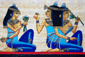 Beauty Concept -Ancient Egyptians - Three Girls and a lotus flower