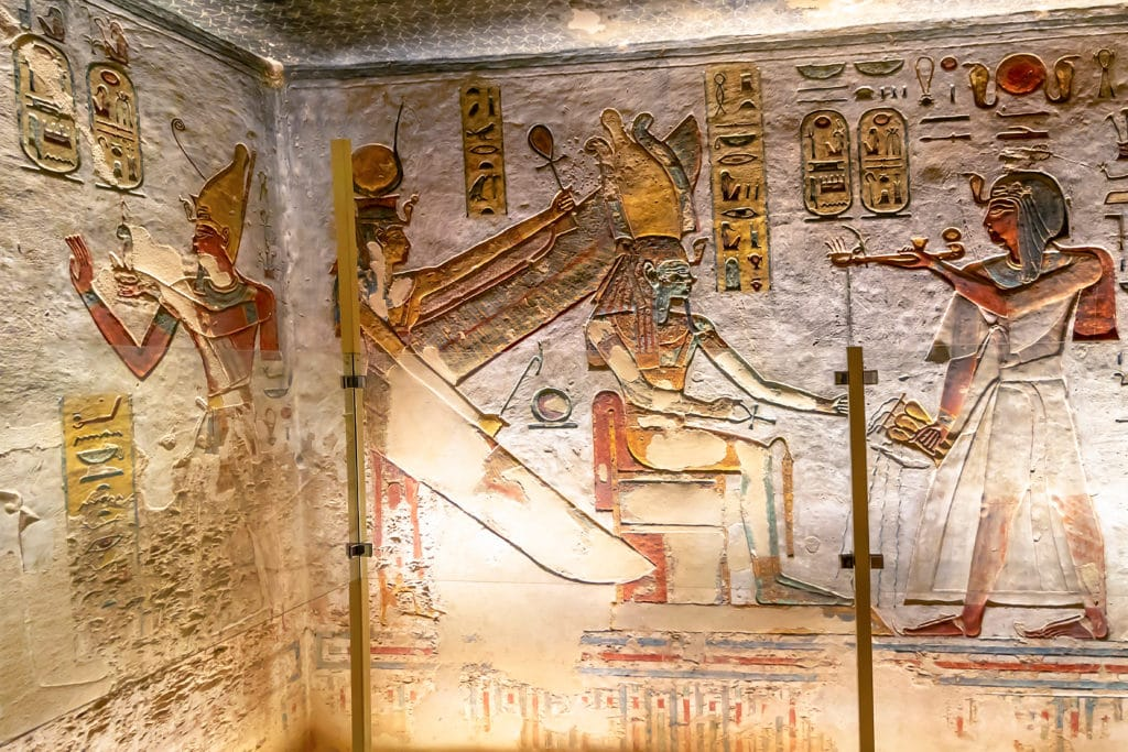 Colorful Writings on Walls of Tomb of Ramesses III - The Valley of Kings - Luxor -Egypt