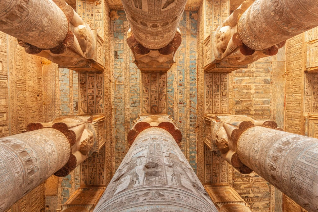 Dendera Temple - Painted and carved hypostyle hall - Egypt