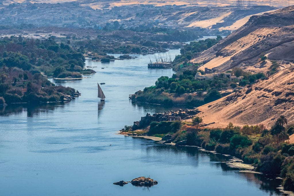 Nile River in the city of Aswan
