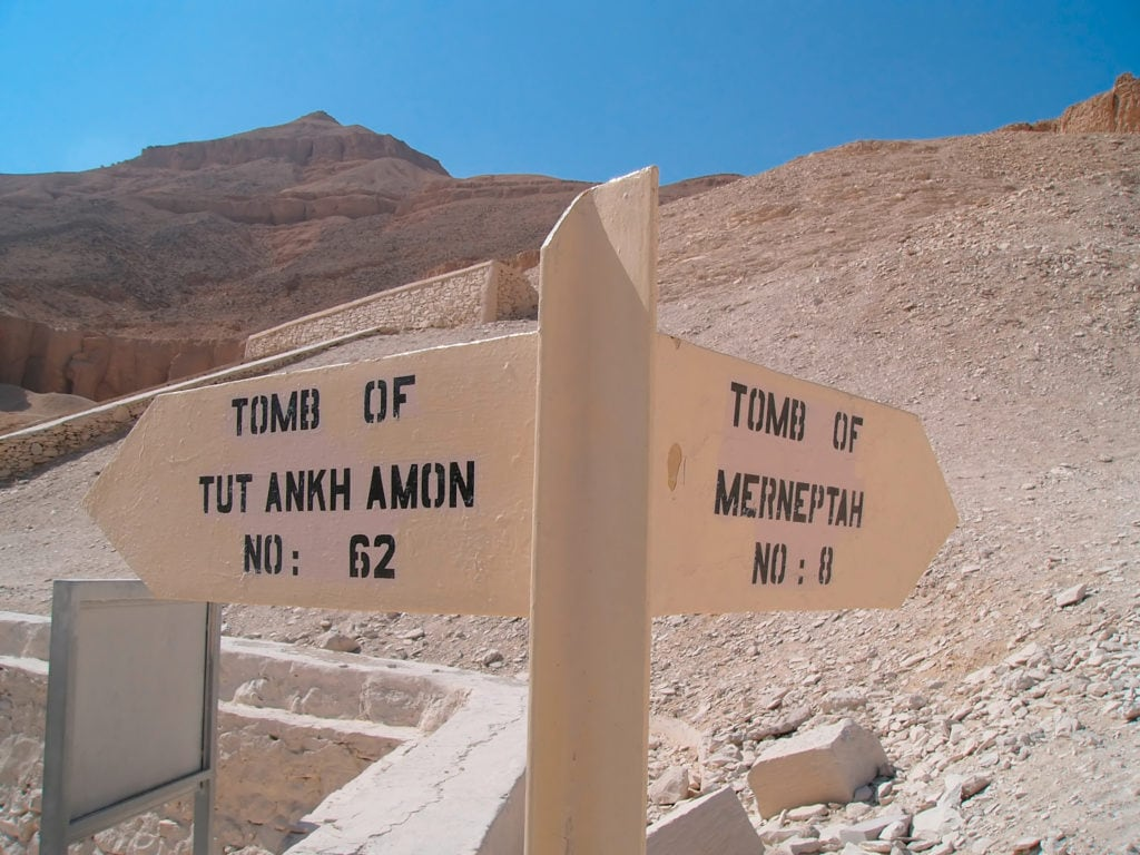 Merneptah  and Tutankhamon Tombs Directions Signs in The Valley of Kings
