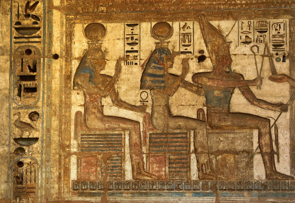 The decoration on the Walls of Temple of Rameses III - Madinet Habu - Egypt