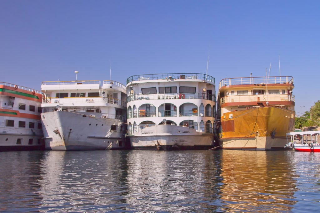 Hotel Boats in the harbor in Luxor - Egypt